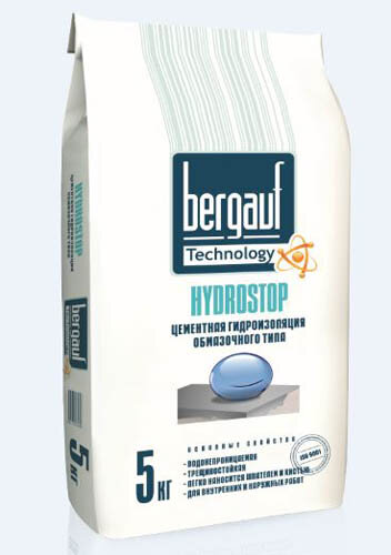 Бергауф Hydrostop Гидроизоляция цементная обмазочного типа 5кг.(108 шт)